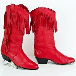"DINGO  Red 13"" Leather Fringe Cowboy Western Boot"